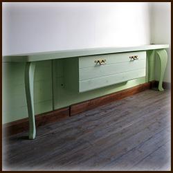 Полка-столешница деревянная с ящиком. Сосна.