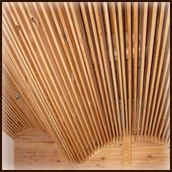 """Деревянный потолок в ванную """"волна"""". Декоративный подвесной потолок. Сосна"""